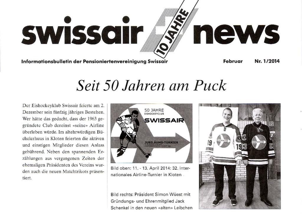 Pensionierten Zeitung der ehemaligen Swissair-Mitarbeiter vom Februar 2014